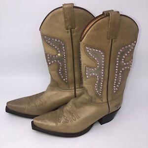 Frye Women Size 7M Beddazled Rhinestone Leather Cowgirl Boots,#F135