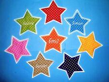 10 cm Stern mit Name Applikation Aufnäher in Wunschfarbe Namenbutton