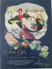 1951 Avon Cosmetics gifts for beauty snow sleds scene vintage ad
