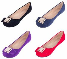 Women Faux Suede Ballerina Ballet Flats w/ Sparkly Buckle Classic Slip-On Loafer