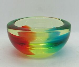 """Small Glass Bowl -Thick 1/2"""" Light Amber w/ Opposing Crescents of Blue & Red"""