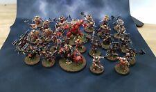 AoS Khorne Chaos army painted bloodreavers blood warriors standard bearer lot