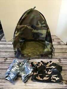 """Build A Bear BABW Tent Camo Military Camouflage 17"""" x 15"""" x 14"""" Camping Clothes"""