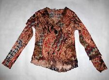 Women's Designer Alberto Makali Red Black Blue Gold Cream Shirt Top Blouse Sz XL