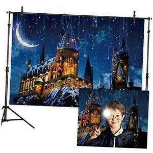 Magic Castle Witch Wizard School Backdrop Photography Halloween 7x5ft Blue