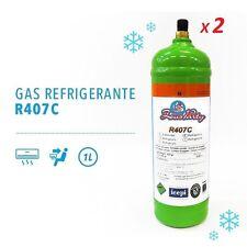 2 BOMBOLE GAS REFRIGERANTE R407C DA 1 LT RICARICA CONDIZIONATORE AUTO