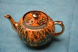 Collectable Teapot Gibson's Abstract Design Tea Pot. GOLD TRIM Browns-Cream-Teal