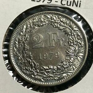 1979 SWITZERLAND 2 FRANCS COIN BRILLIANT UNCIRCULATED CUPRO NICKEL