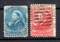 Canada QV 1893 20c and Bill Stamp fine used WS15088