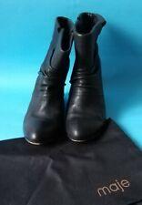 Maje Designer Black Leather Wedge Ankle Boots 36 (3)