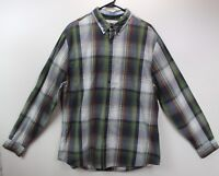 Perry Ellis Men's LARGE Cotton Button Down Plaid Shirt green NWT