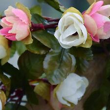 Artificial Silk Pink Rose Vine Hanging Plant Garland Wedding Party Modern Decor