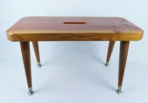 Vintage Mid Century Wooden Bench Stool Hand Crafted Tapered Legs Cabin Decor