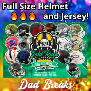 INDIANAPOLIS COLTS signed Gold Rush Specialty FULL-SIZE HELMET +Jersey BOX BREAK