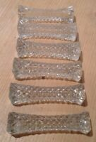 6 VINTAGE GLASS CRYSTAL KNIFE CUTLERY RESTS FRENCH TABLEWARE KITCHEN FINE DINING