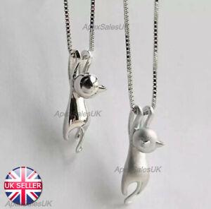 Cat Pendant Chain Necklace Stud Earrings 925 Sterling Silver Womens Jewellery UK