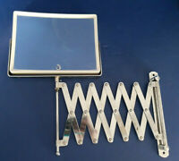 Vtg Wall Mount Mirror Chrome Scissor Arm Retractable Magnifier Shaving Japan