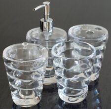 QG 4 pc Clear Acrylic Plastic Twisted Shell w/ Heavy Base Bathroom Accessory Set