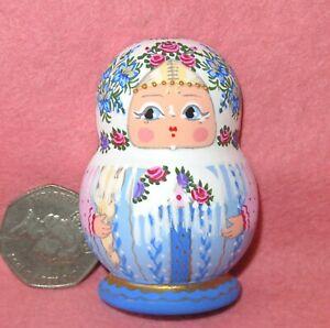Matryoshka Fridge Magnet White Blue Russian doll HAND PAINTED MATT MITINA signed