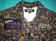 KISS Army Girls' Leopardskin Denim Jacket Animalize Glam Rock & Roll All Night