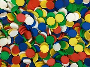 Plastic Lipped Counters (c.24-25mm Lip c.4.5mm) Maths Games Gaming Multi Colour