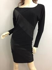Alice + Olivia Small Leather panel long sleeve boat neck dress Black colorblock