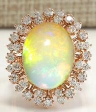 7.99 Carat Natural Opal 14K Rose Gold Diamond Ring