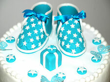 Edible Blue Shoes Set Birthday / Baby Shower Handmade Sugarpaste Topper