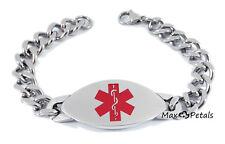 """BLOOD THINNER Medical Alert ID Heavy Men's Bracelet 8"""" Chain Safe Identification"""