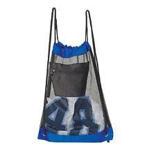 Blue Mesh Gym College Draw String Sports Travel Outdoor Fitness Zipper Backpack