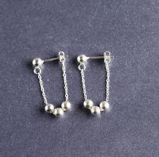 925 Sterling Silver Balls Thread Dangle Drop Post Stud Earrings A1090
