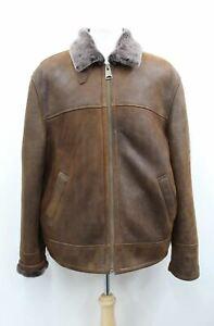 ASHWOOD Men's Brown Pure Sheepskin Leather Long Sleeves Heavy Duty Jacket UK46