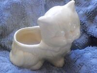 Vintage Sitting Yellow Pottery 6 1/2 inch Cat Planter with Bow - Very Clean