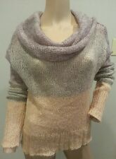 Knitted Knotted Anthropologie Sheer Cowl Neck Colorblock Mohair Blend Sweater M