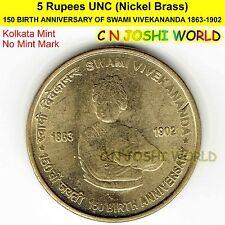 150 BIRTH ANNIVERSARY OF SWAMI VIVEKANANDA Nickel-Brass Rs 5 UNC # 1 Coin