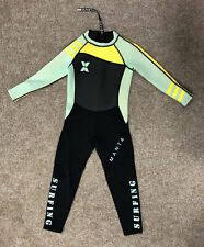 Manta Surfing Full Wetsuit, Kids, Fits Age 7-8, Black, Pistachio And Yellow