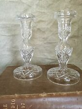 "WATERFORD ""ALANA"" CUT Lead CRYSTAL Glass 2 CANDLESTICKS Candle Holder IRELAND"