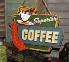Primitive Antique Vtg Style Retro Superior Coffee Shop Diner Cafe Metal Tin Sign