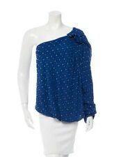 Robert Rodriguez Cobalt blue one-shoulder long sleeve embelished top