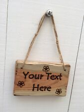 Handmade Personalised Rustic Wooden Daisies Flowers Garden Shed Room Sign Plaque