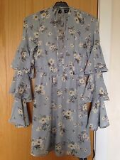 Misguided blue floral dress frill ruffle sleeve dress misguided dress bnwot 6