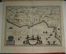 GUINEA BENIN GHANA WEST AFRICA 1642 BLAEU UNUSUAL ANTIQUE COPPER ENGRAVED MAP