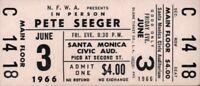 PETE SEEGER 1966 TOUR UNUSED SANTA MONICA CIVC AUDITORIUM CONCERT TICKET NM 2 MT