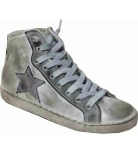 scarpe sneakers alte uomo pelle Via Condotti stella ghiaccio sfumato made in it