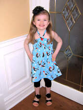 NEW Custom Boutique Dress Blue Roosters Polka Dots Halter Tunic Dress 3 4 5 CUTE