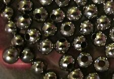 250 Hollow Metal Beads- 6mm Round Spacers- Shiny Blacktone Finish