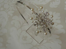 DIAMANTE SNOWFLAKE PEARL SPRAY BRIDAL SIDE HEADBAND TIARA WINTER XMAS WEDDING
