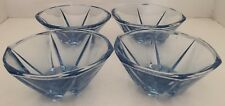 SET 4 X BLUE DEPRESSION GLASS BOWLS for NIBBLES ? SERVING BOWLS in EXC