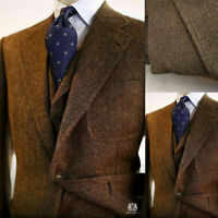 Brown Men Suits Wool Blend Herringbone Vintage Tweed Formal Tuxedos Blazer Pants