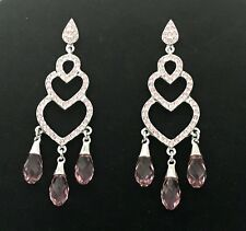 Dangling Pink Heart Chandelier Earrings Made with Swarovski Crystal Post Closure